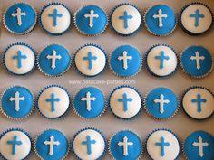 First Holy Communion Cupcake Tower 3 dozen cupcakes in blue and white for a first holy communion. Communion Cups, Confirmation Cakes, First Holy Communion, Cupcakes, Holi, Tower, Blue And White, Candles, Crosses