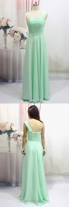 One Shoulder Prom Dresses, Chiffon Prom Dress, Green Evening Gowns, Long Party Dresses, Cheap Formal Dresses