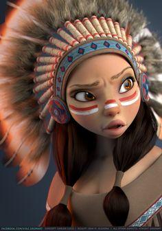 Native American, Vincent Dromart on ArtStation at https://www.artstation.com/artwork/DOogo