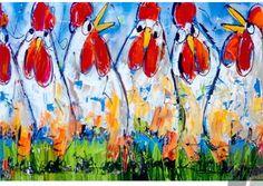 Schilderij Kippen op een Rij