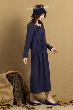 Pleated Linen Dress in blue / Long linen winter by camelliatune