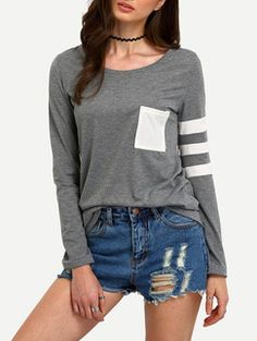 ROMWE Contrast Pocket Striped T-Shirt Found on my new favorite app Dote Shopping #DoteApp #Shopping