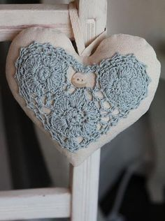 All Things Shabby and Beautiful Heart Crochet Motif, Crochet Patterns, Shabby, Fabric Hearts, I Love Heart, Hanging Hearts, Felt Hearts, Crochet Hearts, Blue Hearts