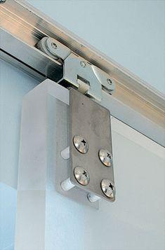 "Detail of 1"" acrylic sliding door. One side has been sandblasted"
