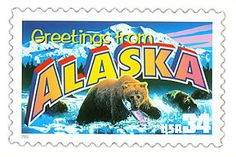 The Alaska State Postage Stamp  Depicted above is the Alaska state 34 cent stamp from the Greetings From America commemorative stamp series. The United States Postal Service released this stamp on April 4, 2002. The retro design of this stamp resembles the large letter postcards that were popular with tourists in the 1930's and 1940's.