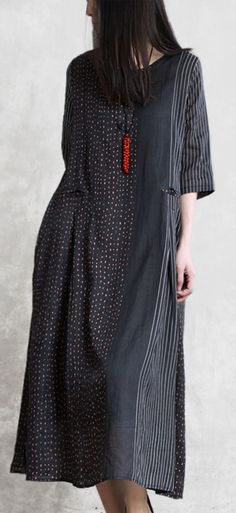 Style black striped linen Robes o neck patchwork Maxi summer Dress Style black striped linen Robes o neck patchwork Maxi summer Dress Summer Dress Outfits, Casual Summer Dresses, Summer Dresses For Women, Summer Maxi, Long Fall Dresses, New Long Dress, Cotton Wedding Dresses, Long Sleeve Cotton Dress, Burgundy Dress