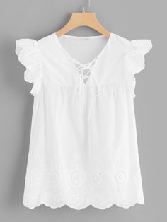 Shop Lace Up Neck Frilled Shoulder Top online. SheIn offers Lace Up Neck Frilled Shoulder Top & more to fit your fashionable needs. Casual Dresses, Fashion Dresses, Couture, Cute Tops, Blouses For Women, Baby Dress, Girl Outfits, Tunic Tops, Lace Up