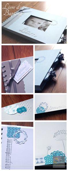 Livre d'or personnalisé pour baptême. Blanc bleu pastel, argenté. http://www.mainsetmerveillesdeco.fr/