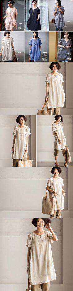 Rice loose cotton Shirt top Cotton dress by Fantasylinen