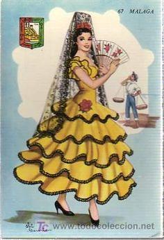 POSTAL TRAJE TIPICO DE MALAGA (Postales - España - Andalucia Moderna (desde 1.940))