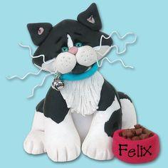 Black & White Tuxedo KITTY CAT HANDMADE Polymer Clay Personalized Christmas Ornament