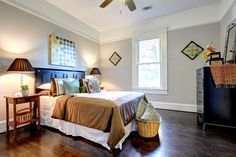 ceiling and above picture railing same colour Atlanta Ave - traditional - bedroom - atlanta - Carl Mattison Design
