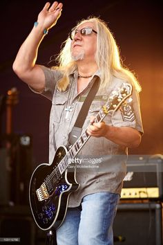 Mick Box of Uriah Heep performs on stage during day two of High Voltage Festival at Victoria Park on July 25, 2010 in London, England.