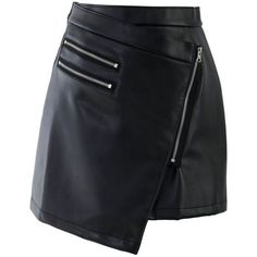 Zip Faux Leather Skirt - Skirt - Bottoms - Retro, Indie and Unique Fashion Leather Look Skirts, Faux Leather Skirt, Led Dress, Dress Skirt, Fashion Brand, Womens Fashion, Fashion Design, Look 2018, Asymmetrical Skirt