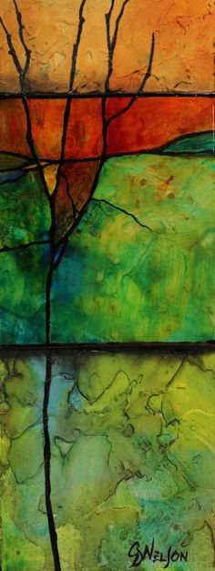 """""""Make a Wish"""" mixed media abstract by Carol Nelson"""
