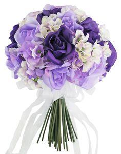 Hydrangea Rose Purple Lavender Hand Tie Medium - Silk Bridal Wedding Bouquet - TheBridesBouquet.com