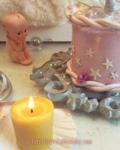 Setting a cozy mood while I get to work! 💫  #Vintage #Kewpie #Seashells #CandleLight #oldSoul #HandMade #NotOfThisWorld