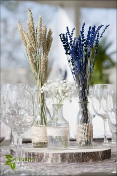 Earthy and natural wedding centre pieces