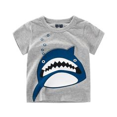 New Brand Boys T Shirt Cartoon Shark Children Tops Summer Casual Tees Cotton Gray Kids Boy Clothes T-Shirt