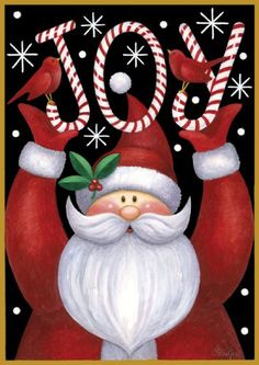 Toland - Santa Joy - Decorative Double Sided Winter Christmas Holiday Jolly USA-Produced Garden Flag * See this awesome image : Garden Christmas Decorations Noel Christmas, Christmas Pictures, All Things Christmas, Winter Christmas, Vintage Christmas, Xmas, Christmas Ornaments, Christmas Garden, Christmas Canvas