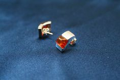 Modern Cognac Amber Earrings - Modern design amber stud earrings made from genuine amber and sterling silver. These cognac amber earrings are suitable for all occasions. Also available in green color - Amber Earrings, Stud Earrings, Green Colors, Modern Design, Cufflinks, Charlotte, Sterling Silver, Accessories, Collection