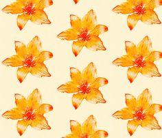 Watercolour Lilies fabric by heckadoodledo on Spoonflower - custom fabric