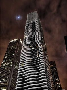 Chicago Aqua building moonlit- amazing