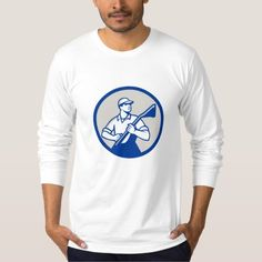 Professional Carpet Cleaner Vacuum Circle Retro T Shirt. Illustration of a professional male carpet cleaner worker holding vacuum cleaner looking to the side viewed from front set inside circle on isolated background done in retro style. #Illustration #ProfessionalCarpetCleanerVacuum