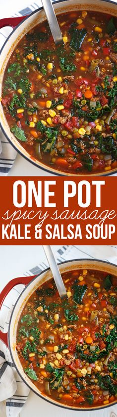 This One Pot Spicy Sausage and Kale Soup is hearty, delicious and literally takes just 5 minutes to throw together in a pot or slow cooker!
