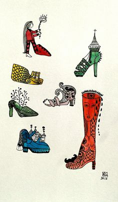 ORIGINAL AQUARELaquarel ink drawing Crazy Shoes by Flowerchild1964