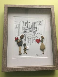"""Family of three""""pebble art expressing love their own way in family kitchen .A very unique gift for your valentine, anniversary gift, birthday present. #pebbleart #pebbles #valentinesday #valentinesdaygiftideas #ad"""