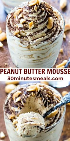 Easy Delicious Recipes, Best Dessert Recipes, Sweet Desserts, Easy Desserts, Sweet Recipes, Delicious Desserts, Yummy Food, Health Desserts, Peanut Butter Mousse
