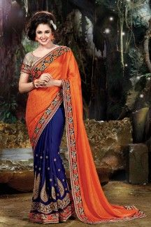 Yuvika Chaudhary Navy Blue-Orange Color Designer Chiffon-Georgette-Satin Saree