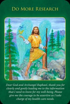 Archangel Raphael Oracle Cards: Do More Research Novena Prayers, Angel Prayers, Angel Guide, Archangel Raphael, Doreen Virtue, Angel Cards, Guardian Angels, Oracle Cards, Card Reading