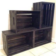 Two tiered wood wine crate shoe storage shelf by SugarRiverRestore