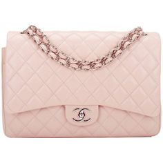 98fef2aea679 Pre-owned Chanel Light Pink Quilted Caviar Maxi Classic Double Flap Bag  ($7,000)
