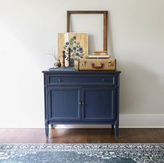 """I spruced up this mid century modern cabinet with General Finishes Coastal Blue (my favorite color!)."" - Green Spruce Designs"