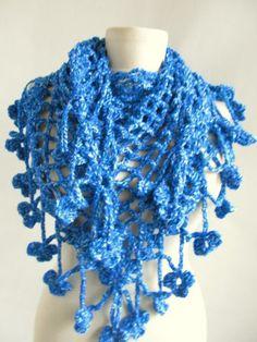 blue scarf Crochet scarf/tringle scarf / asuhan blue scarves blue cowl