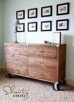 DIY Furniture - Wood Dresser with Wheels!  A simple cabinet design using  pocket screw jointery and inexpensive drawer slides.