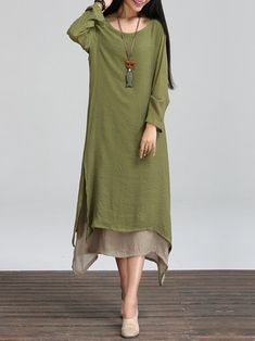 Crew Neck Long Sleeve Asymmetric Linen Dress
