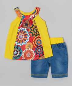 Another great find on #zulily! Yellow Floral Yoke Tunic & Pants - Toddler & Girls by Chit-Chat #zulilyfinds