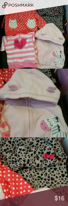 """9 Month Hoodie Bundle In great condition normal wear but no rips or stains. The two on the left have """"ears"""" on the hoods. They are all Just One You by Carters with the exception of the cheetah print that one is Circo from target Jackets & Coats"""