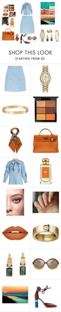 """""""Sailing Away"""" by naseebah-alghaith ❤ liked on Polyvore featuring Maje, Rolex, Cartier, MAC Cosmetics, Gucci, Hermès, Fendi, Jo Malone, Forever 21 and Seed Design"""