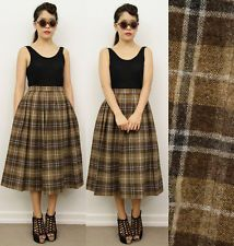 Vintage 80′s High Waist Buffalo Plaid Flannel Midi Circle Skirt ...