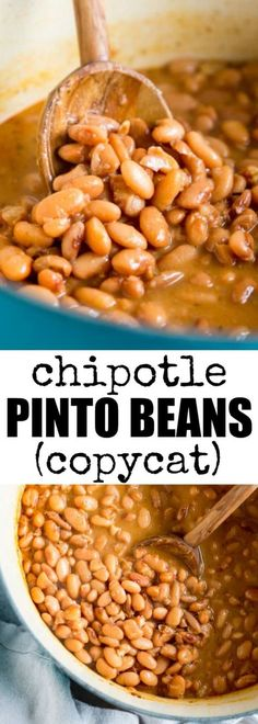 These copycat Chipotle Pinto Beans are easy to make, inexpensive, and healthy! Add to burritos and salads or serve with rice for a tasty vegetarian meal. meals with rice Chipotle Pinto Beans Recipe (Copycat) Pinto Bean Recipes, Mexican Beans Recipe, Mexican Pinto Beans, Burritos, Tasty Vegetarian Recipes, Mexican Food Recipes, Healthy Recipes, Mexican Entrees, Recipes