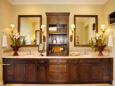 Master bath. Love the shelving between sinks