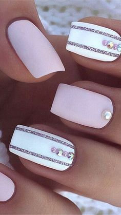 Pink Clear Nails, Short Pink Nails, Pastel Pink Nails, Pink Nail Colors, Cute Pink Nails, Pink Nail Art, Purple Nails, Classy Nail Designs, Pink Nail Designs