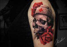 Nurse skull red roses tattoo