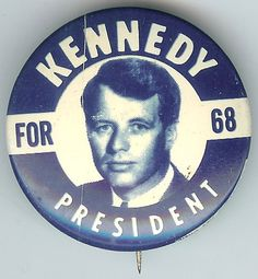 Bobby Kennedy for President, Blue tin litho campaign pin
