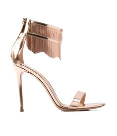 Rose gold metallic heel sandals//